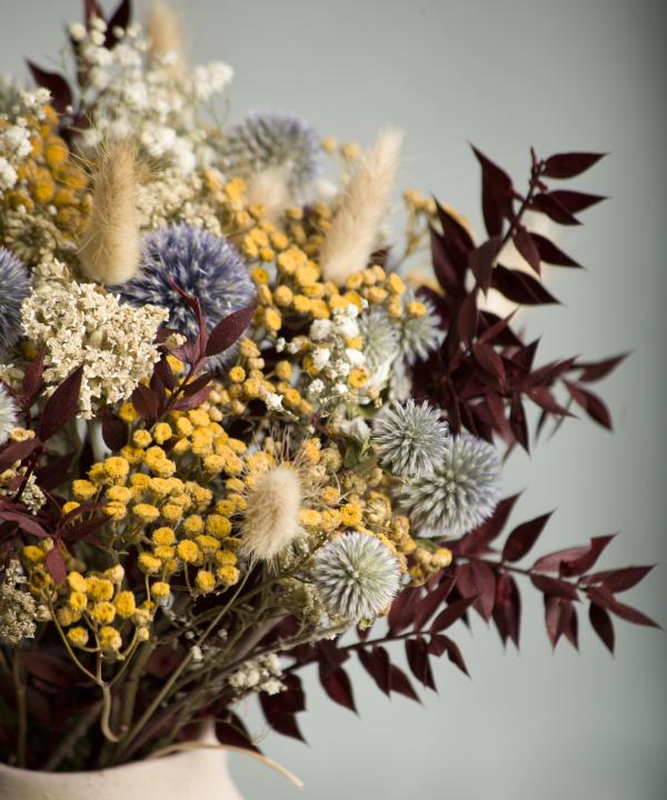 Kytica zo sušených kvetov Blue Monday detail