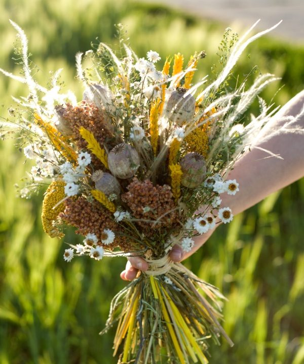 Detail Nekonečnej kytice zo sušených kvetov Sunset
